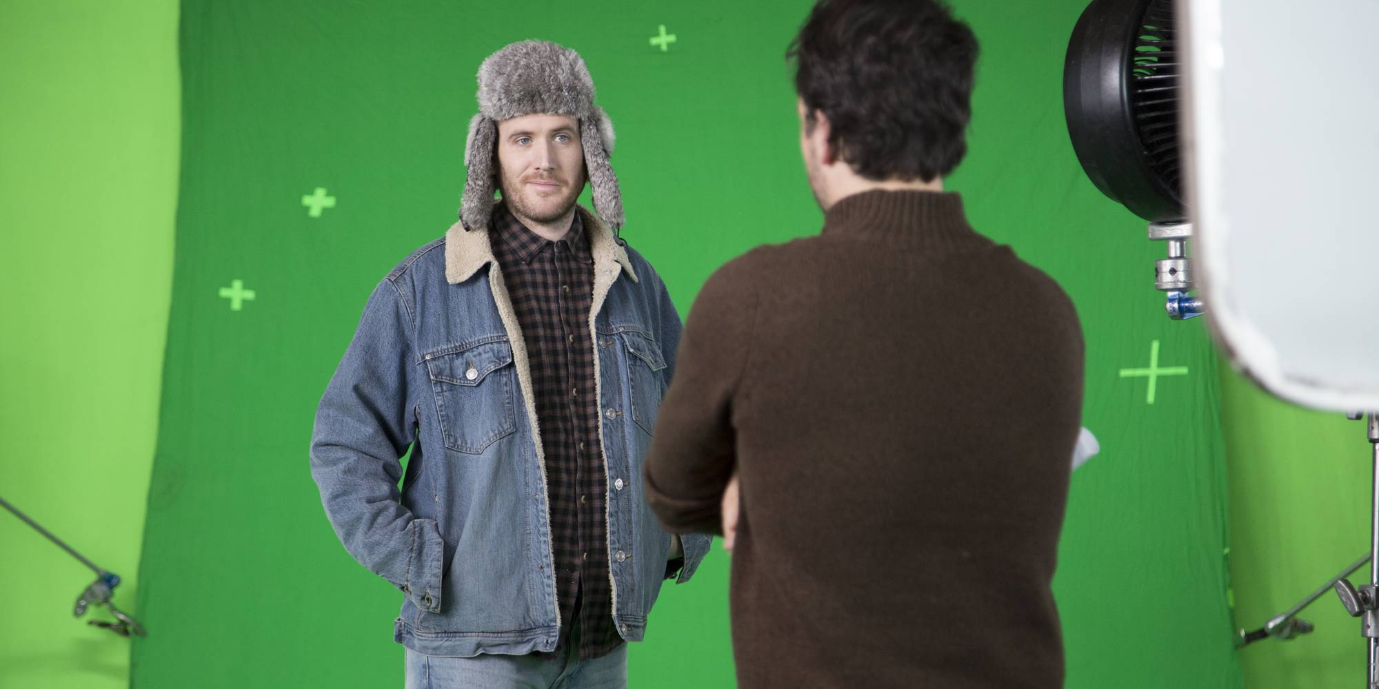 Director Geoff Manton discusses the scene with the talented WooHoo Guy