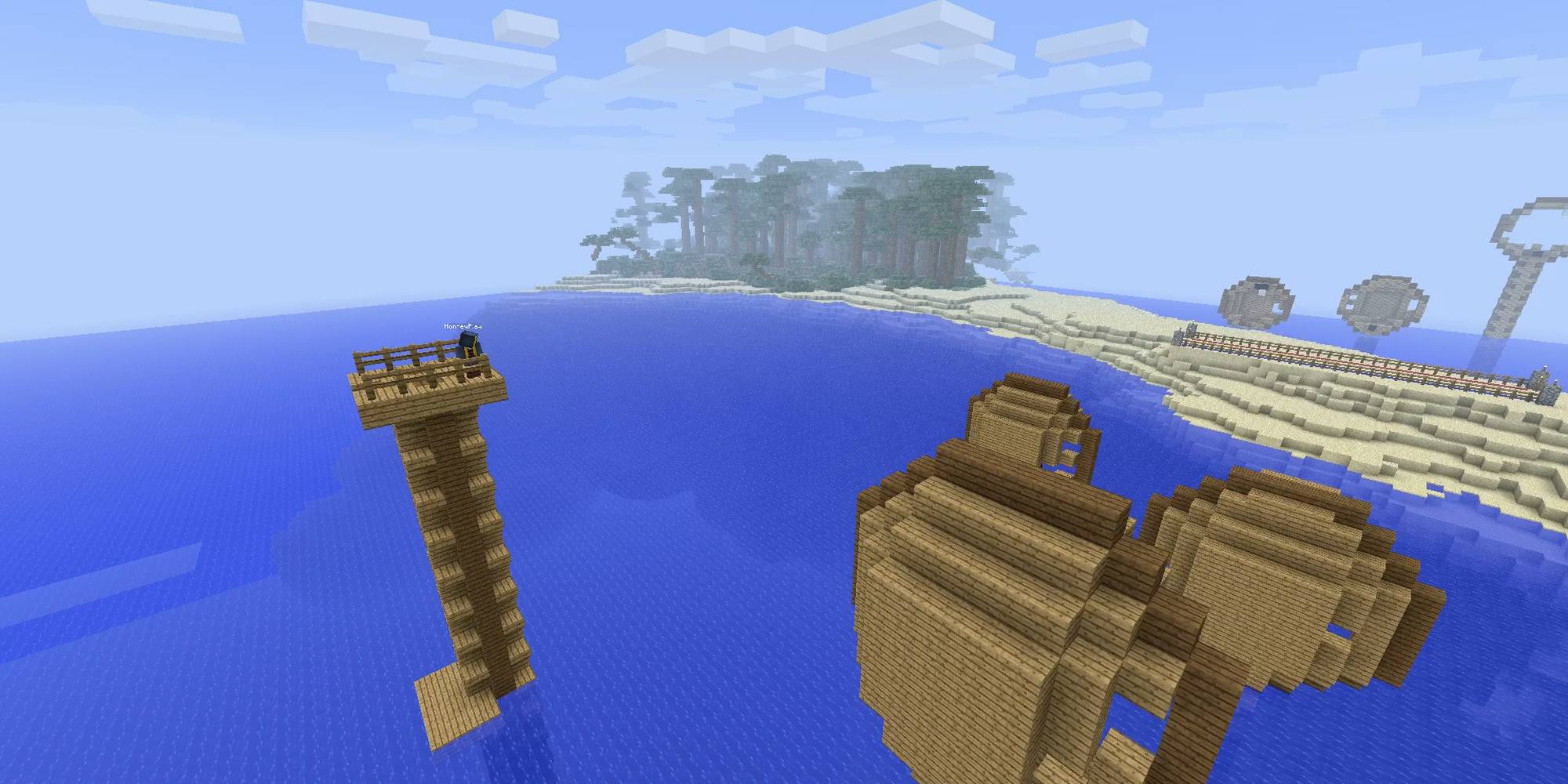 The MindCrack team built a massive island world for the players to duke it out on.